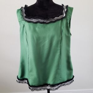 B2G1 VTG Plus Size Festive Green Tulle Holiday Top